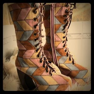 Jeffrey Campbell Pickford patchwork boots (size 8)